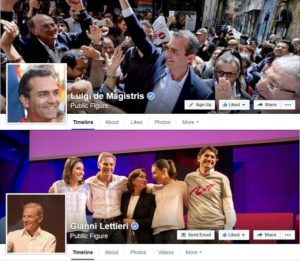 Copertina delle pagine Facebook di de Magistris e Lettieri durante la campagna elettorale