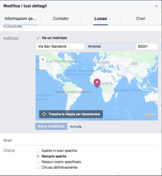 Facebook Errore Mappa