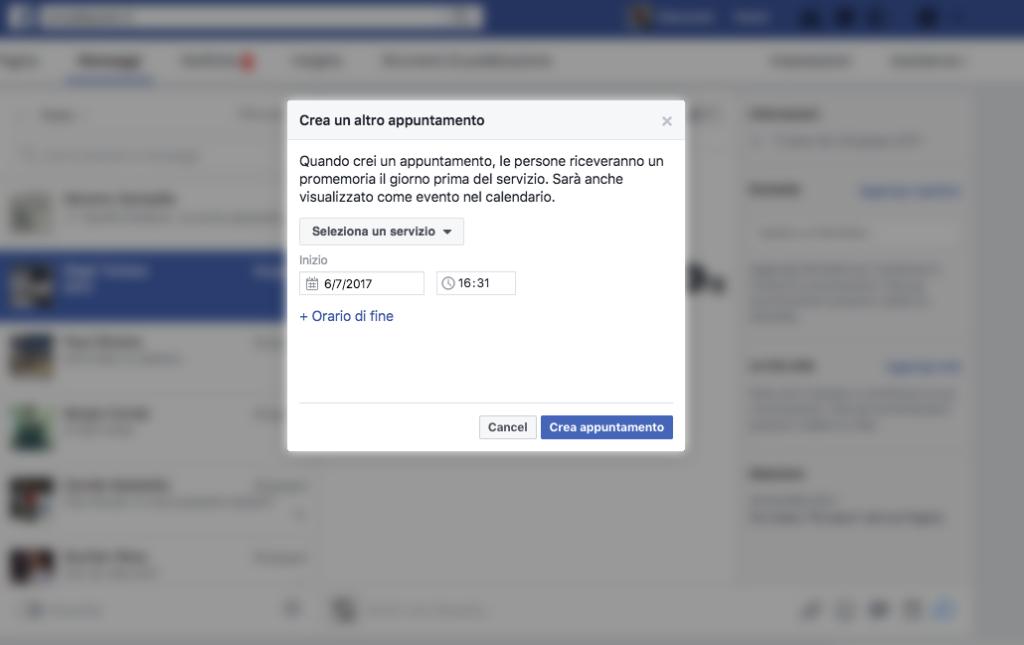 Facebook Messanger Crea Appuntamento