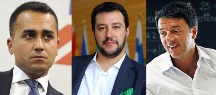 Di Maio, Salvini e Renzi fonte foto: collage da biografieonline.it