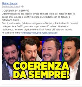 Una delle sponsorizzate di Salvini diretta ai votanti di Forza Italia